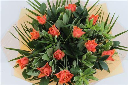 Bouquet of a dozen Orange Roses